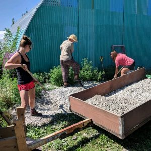 Interns come through frequently to gain hands-on experience with permaculture methods, and put in a few sweat hours while they're at it.
